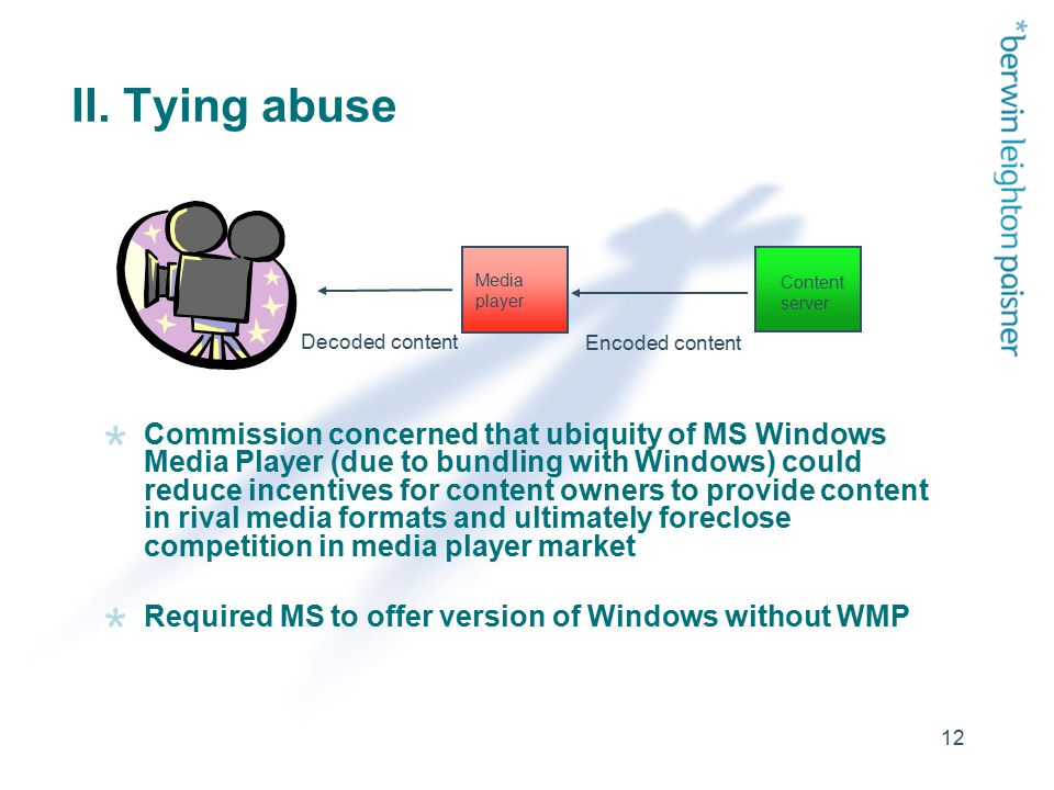 12 II. Tying abuse Commission concerned that ubiquity of MS Windows Media Player (due to bundling with Windows) could reduce incentives for content ow