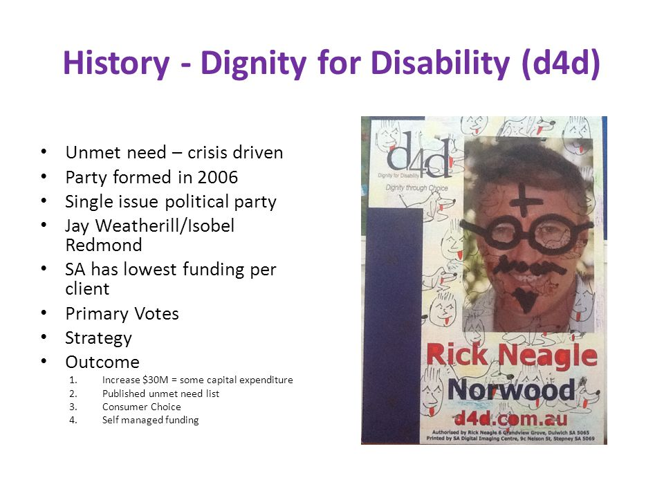 History - Dignity for Disability (d4d) Unmet need – crisis driven Party formed in 2006 Single issue political party Jay Weatherill/Isobel Redmond SA has lowest funding per client Primary Votes Strategy Outcome 1.Increase $30M = some capital expenditure 2.Published unmet need list 3.Consumer Choice 4.Self managed funding