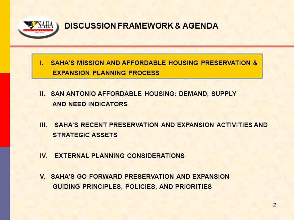 I. SAHA'S MISSION AND AFFORDABLE HOUSING PRESERVATION & EXPANSION PLANNING PROCESS II. SAN ANTONIO AFFORDABLE HOUSING: DEMAND, SUPPLY AND NEED INDICAT