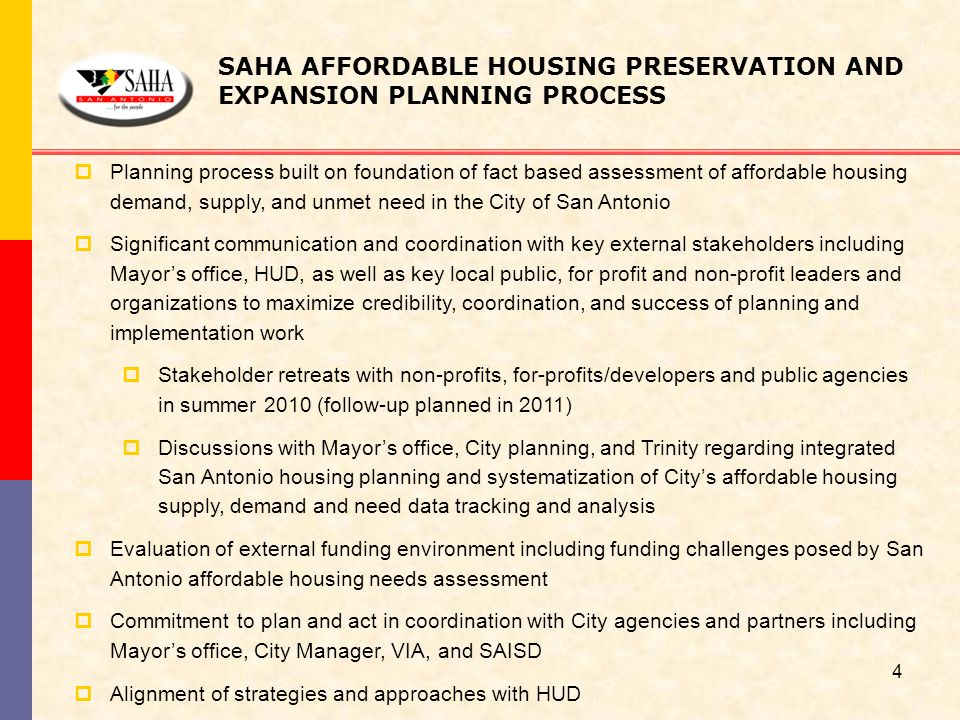 SAHA AFFORDABLE HOUSING PRESERVATION AND EXPANSION PLANNING PROCESS  Planning process built on foundation of fact based assessment of affordable hous