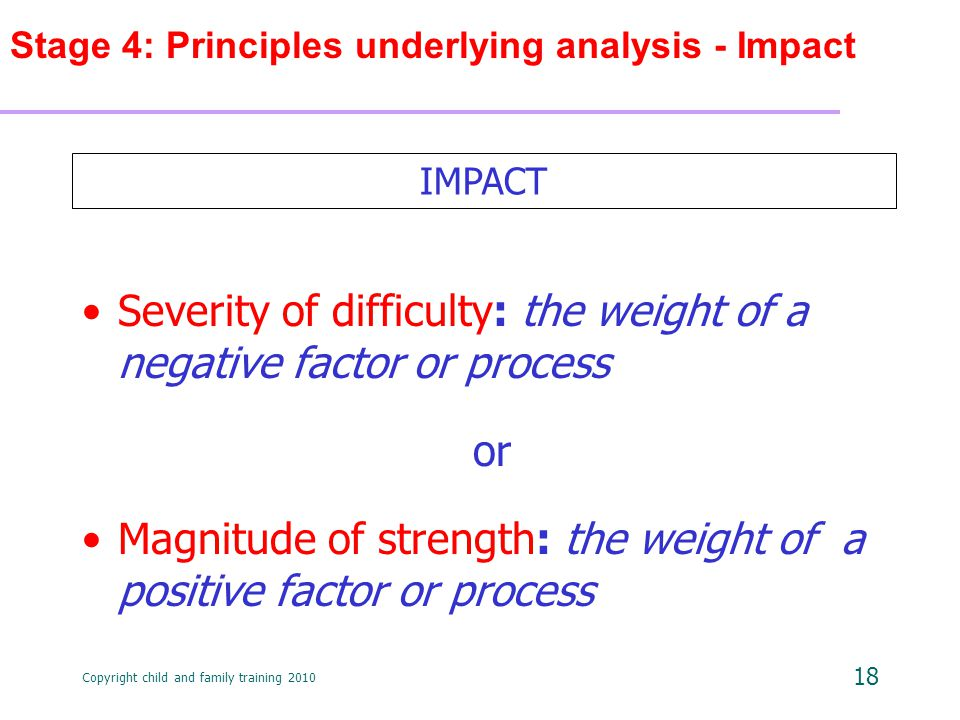 Copyright child and family training 2010 18 Stage 4: Principles underlying analysis - Impact Severity of difficulty: the weight of a negative factor or process or Magnitude of strength: the weight of a positive factor or process IMPACT
