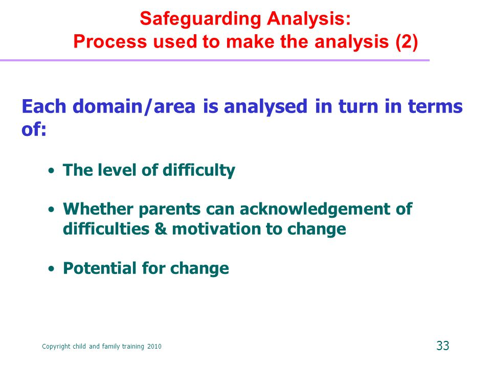 Copyright child and family training 2010 33 Each domain/area is analysed in turn in terms of: The level of difficulty Whether parents can acknowledgement of difficulties & motivation to change Potential for change Safeguarding Analysis: Process used to make the analysis (2)