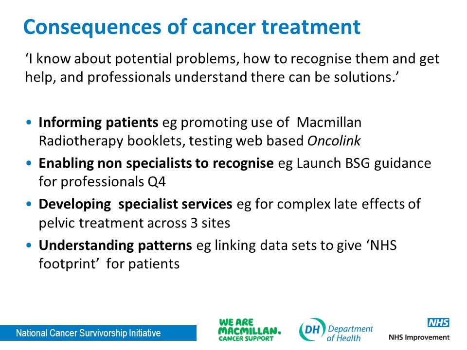 National Cancer Survivorship Initiative Consequences of cancer treatment 'I know about potential problems, how to recognise them and get help, and professionals understand there can be solutions.' Informing patients eg promoting use of Macmillan Radiotherapy booklets, testing web based Oncolink Enabling non specialists to recognise eg Launch BSG guidance for professionals Q4 Developing specialist services eg for complex late effects of pelvic treatment across 3 sites Understanding patterns eg linking data sets to give 'NHS footprint' for patients
