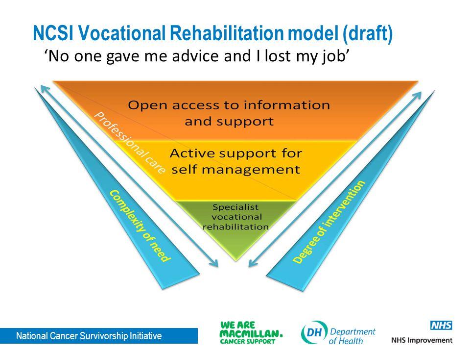 National Cancer Survivorship Initiative NCSI Vocational Rehabilitation model (draft) 'No one gave me advice and I lost my job'
