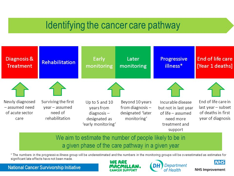 National Cancer Survivorship Initiative Diagnosis & Treatment Rehabilitation Early monitoring End of life care [Year 1 deaths] Progressive illness* Newly diagnosed – assumed need of acute sector care Surviving the first year – assumed need of rehabilitation Up to 5 and 10 years from diagnosis – designated as 'early monitoring' Incurable disease but not in last year of life – assumed need more treatment and support End of life care in last year – subset of deaths in first year of diagnosis Identifying the cancer care pathway Later monitoring Beyond 10 years from diagnosis – designated 'later monitoring' * The numbers in the progressive illness group will be underestimated and the numbers in the monitoring groups will be overestimated as estimates for significant late effects have not been made.