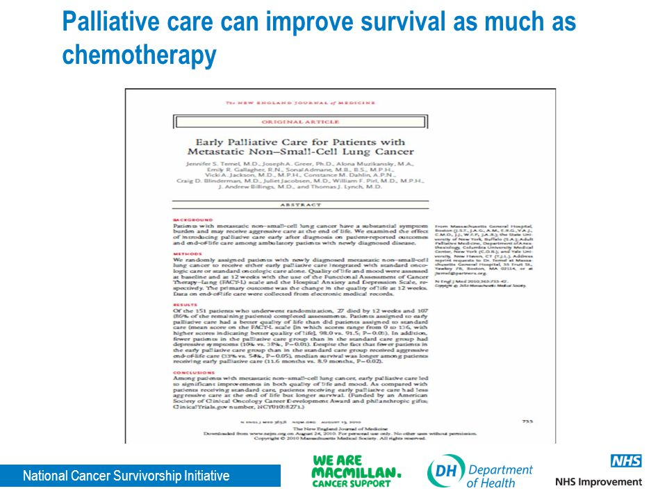 National Cancer Survivorship Initiative Palliative care can improve survival as much as chemotherapy