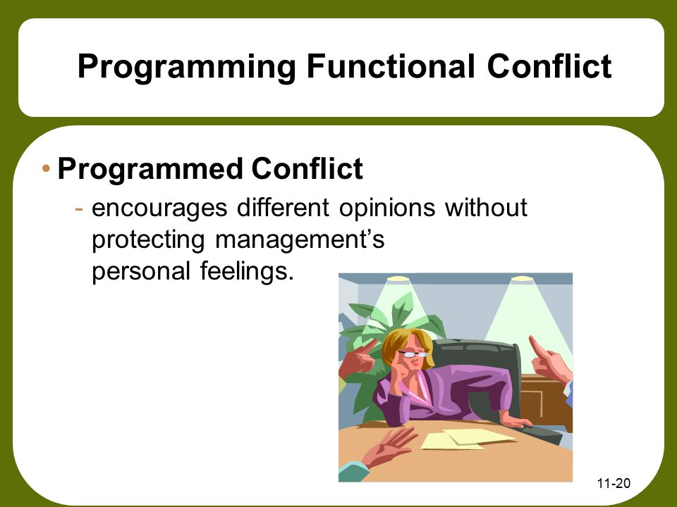 11-20 Programming Functional Conflict Programmed Conflict -encourages different opinions without protecting management's personal feelings.