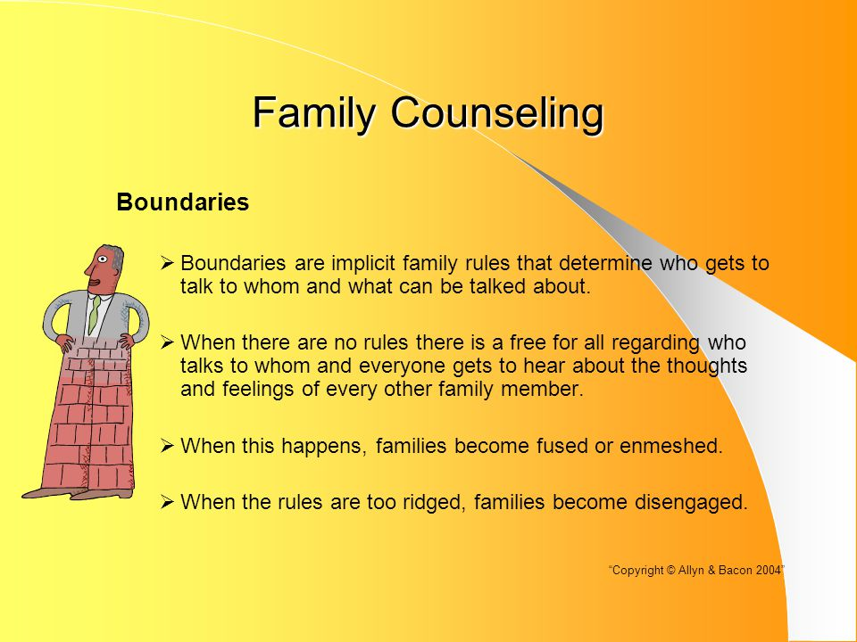 Family Counseling Boundaries  Boundaries are implicit family rules that determine who gets to talk to whom and what can be talked about.