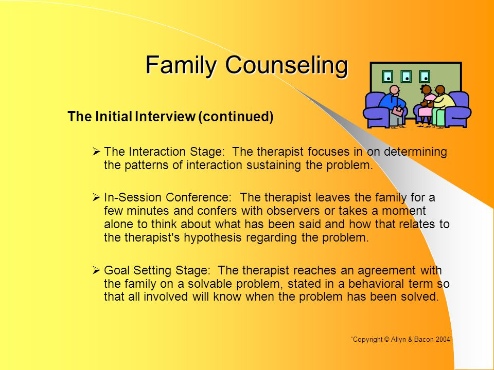 Family Counseling The Initial Interview (continued)  The Interaction Stage: The therapist focuses in on determining the patterns of interaction sustaining the problem.
