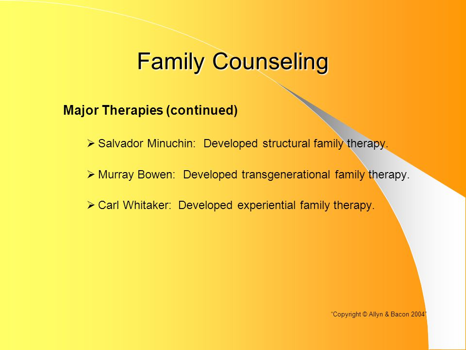 Family Counseling Other Family Problems (continued)  Family of Origin: When there is conflict over which family of origin to model.