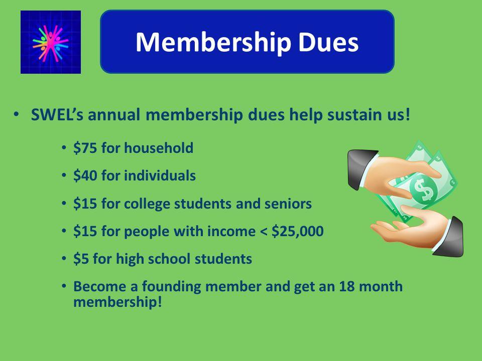 Membership Dues SWEL's annual membership dues help sustain us.