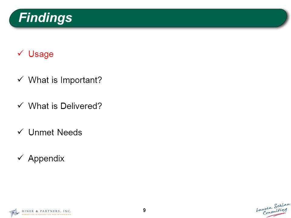 9 Findings Usage What is Important What is Delivered Unmet Needs Appendix