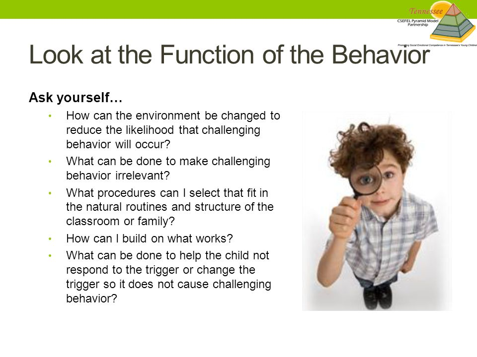 Look at the Function of the Behavior Ask yourself… How can the environment be changed to reduce the likelihood that challenging behavior will occur.