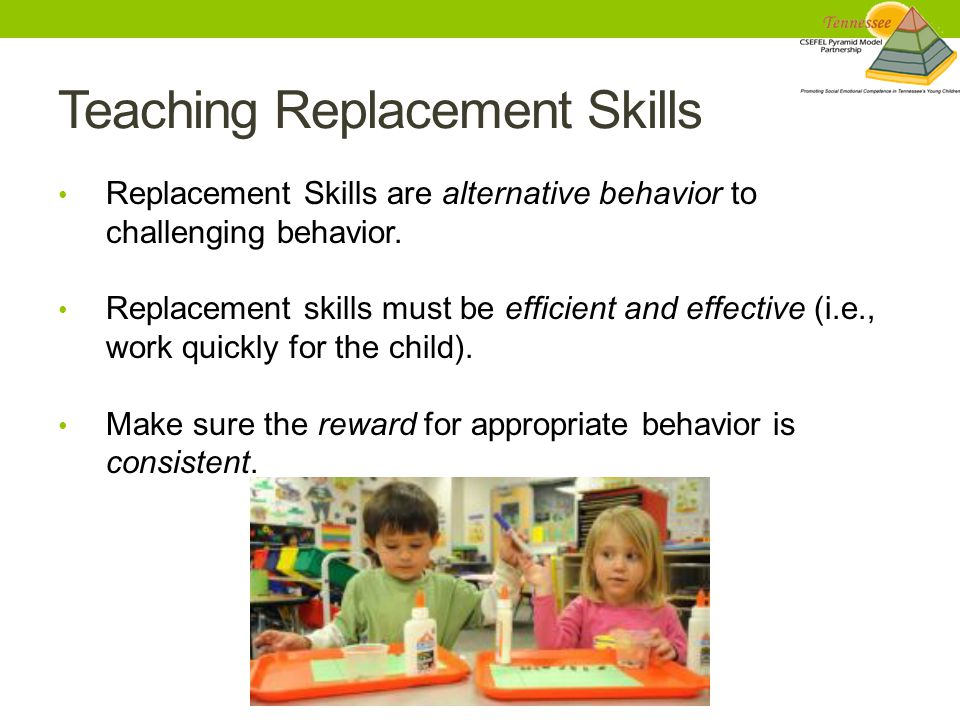 Teaching Replacement Skills Replacement Skills are alternative behavior to challenging behavior.
