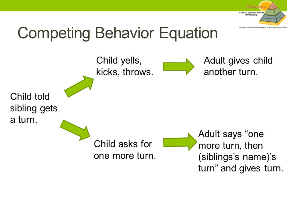 Competing Behavior Equation Child told sibling gets a turn.