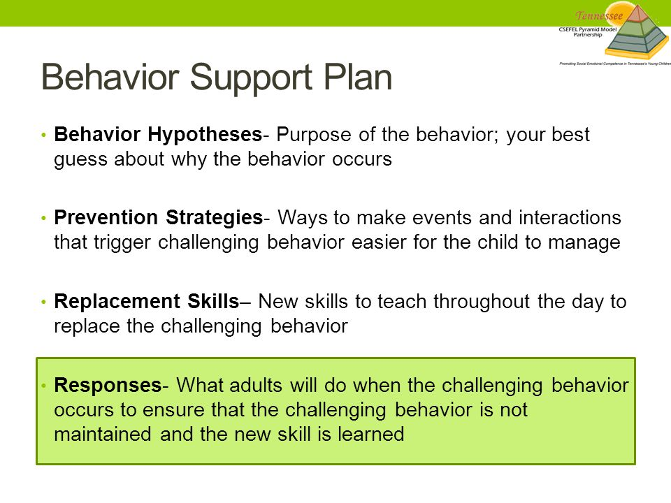 Behavior Support Plan Behavior Hypotheses- Purpose of the behavior; your best guess about why the behavior occurs Prevention Strategies- Ways to make events and interactions that trigger challenging behavior easier for the child to manage Replacement Skills– New skills to teach throughout the day to replace the challenging behavior Responses- What adults will do when the challenging behavior occurs to ensure that the challenging behavior is not maintained and the new skill is learned