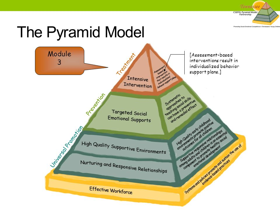 The Pyramid Model [Assessment-based interventions result in individualized behavior support plans.] Prevention Universal Promotion Treatment Module 3