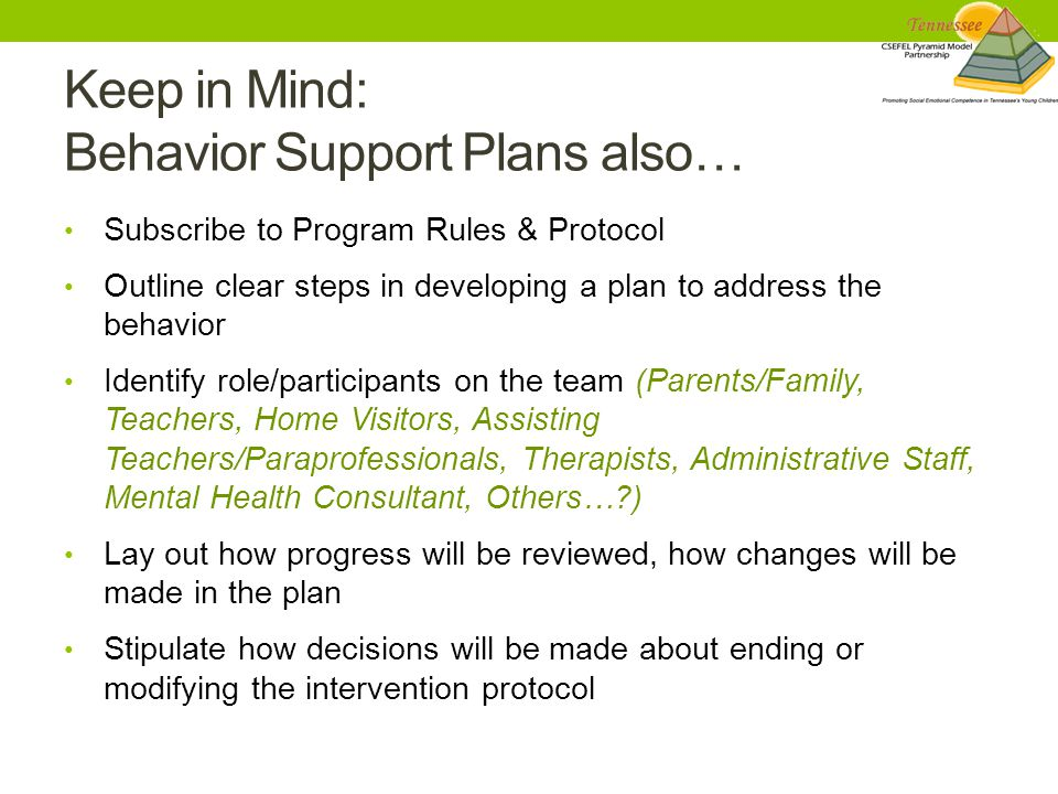 Keep in Mind: Behavior Support Plans also… Subscribe to Program Rules & Protocol Outline clear steps in developing a plan to address the behavior Identify role/participants on the team (Parents/Family, Teachers, Home Visitors, Assisting Teachers/Paraprofessionals, Therapists, Administrative Staff, Mental Health Consultant, Others… ) Lay out how progress will be reviewed, how changes will be made in the plan Stipulate how decisions will be made about ending or modifying the intervention protocol
