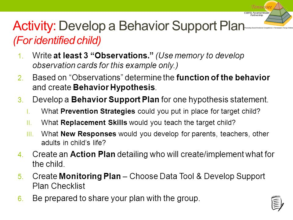 Activity: Develop a Behavior Support Plan (For identified child) 1.