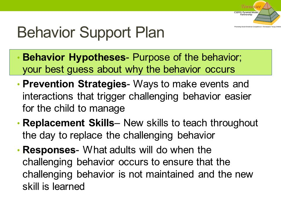 Behavior Hypothesis Expands on the behavior equation and incorporates what you have learned from the observations and interviews Includes information about: Function of the behavior Triggers of the challenging behavior Description of the challenging behavior Responses that maintain the challenging behavior HO: Hypothesis Statement