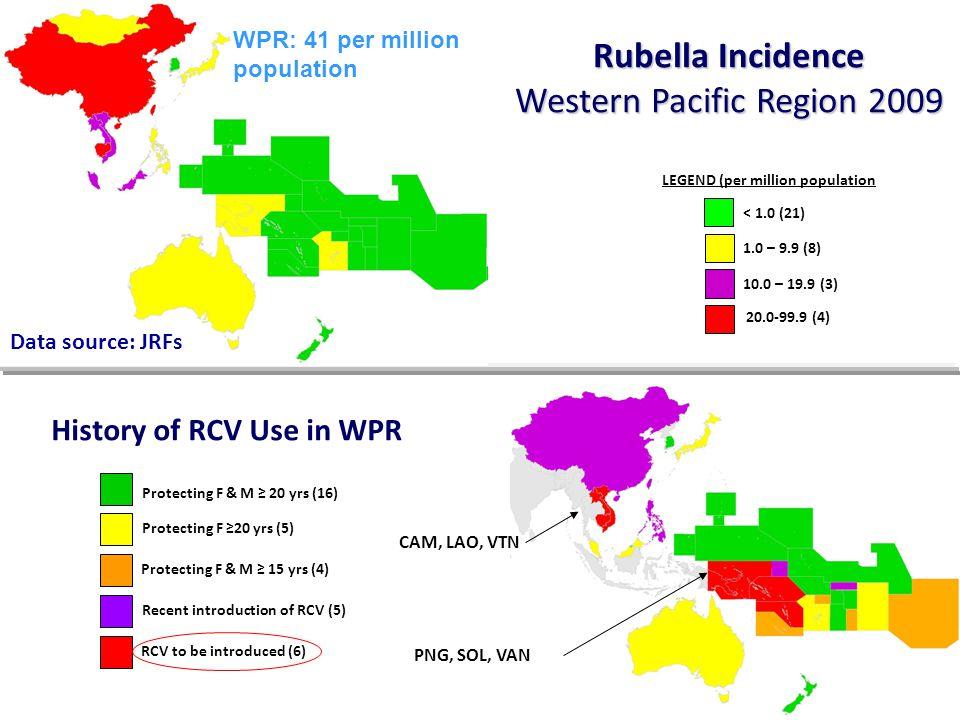 < 1.0 (21) 1.0 – 9.9 (8) 10.0 – 19.9 (3) LEGEND (per million population 20.0-99.9 (4) Rubella Incidence Western Pacific Region 2009 Protecting F & M ≥