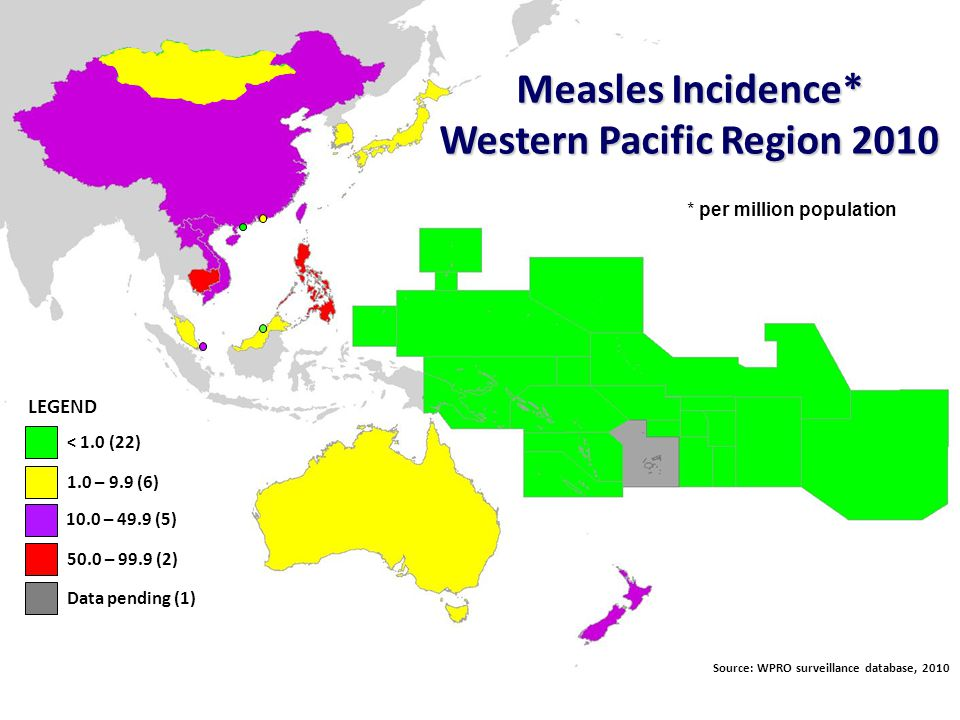 World Health Organization Western Pacific Regional Office Expanded Programme on Immunization Challenges of Measles Elimination - Surveillance Low sensitivity of surveillance at sub-national levels Difficulty in timely obtaining accurate epidemiologic data –Delayed and incomplete case investigation data –Discrepancies between lab reports and national reports Large proportion of clinically confirmed cases in some countries Inadequate attention to collecting specimens for virus detection
