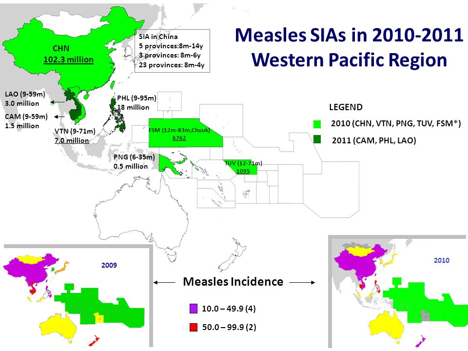 World Health Organization Western Pacific Regional Office Expanded Programme on Immunization Reported Measles Cases, China 2009 – 2011* *Surveillance report through February 2011 Measles SIA Decrease from previous year 44% 65% 44%