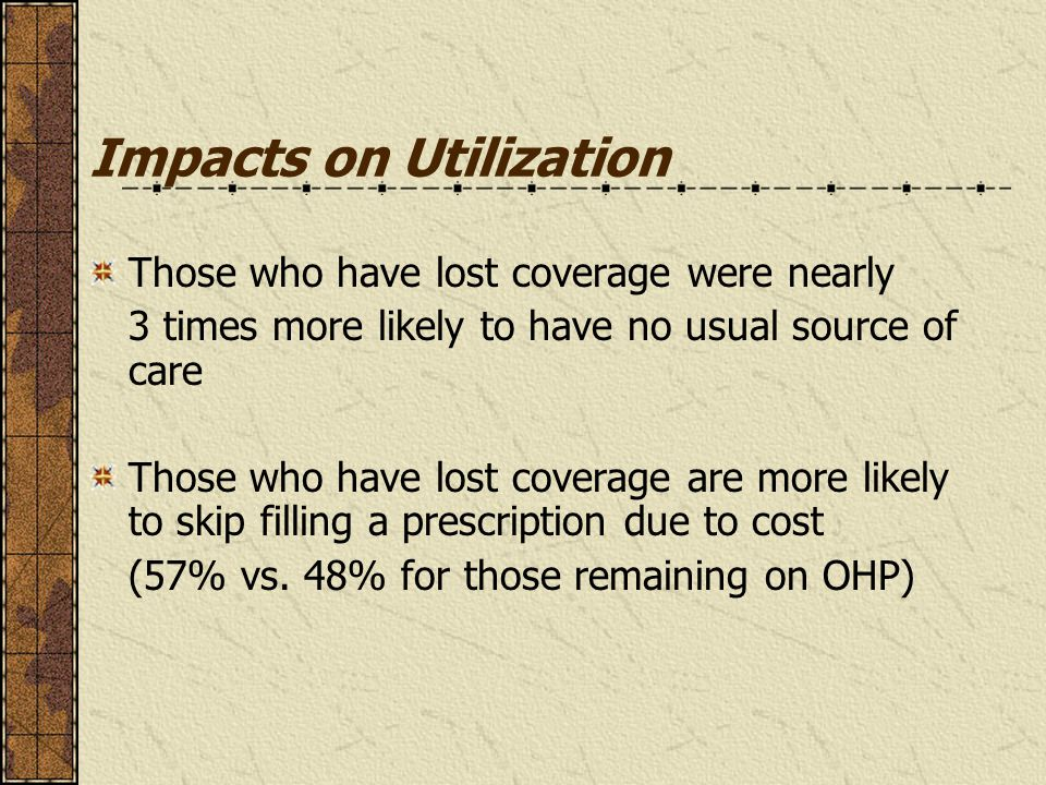 Impacts on Utilization Those who have lost coverage were nearly 3 times more likely to have no usual source of care Those who have lost coverage are more likely to skip filling a prescription due to cost (57% vs.