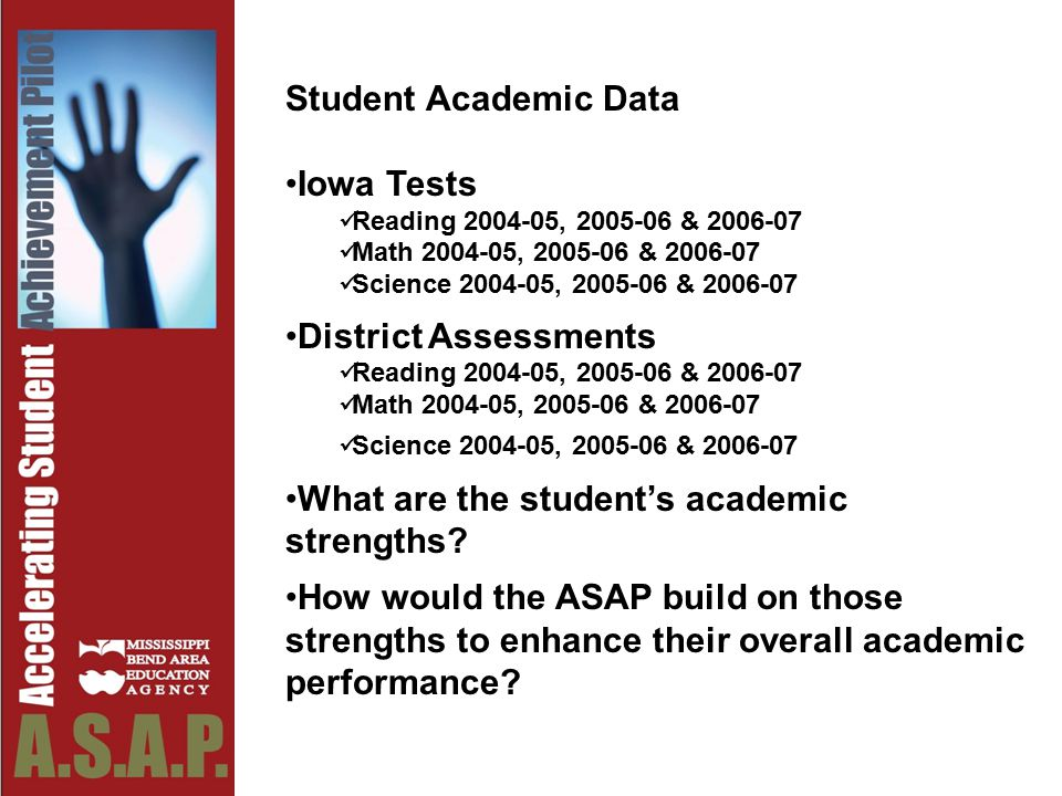 Student Academic Data Iowa Tests Reading 2004-05, 2005-06 & 2006-07 Math 2004-05, 2005-06 & 2006-07 Science 2004-05, 2005-06 & 2006-07 District Assessments Reading 2004-05, 2005-06 & 2006-07 Math 2004-05, 2005-06 & 2006-07 Science 2004-05, 2005-06 & 2006-07 What are the student's academic strengths.
