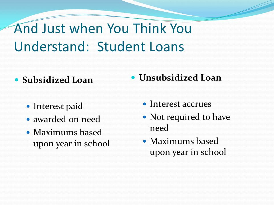 And Just when You Think You Understand: Student Loans Subsidized Loan Interest paid awarded on need Maximums based upon year in school Unsubsidized Loan Interest accrues Not required to have need Maximums based upon year in school
