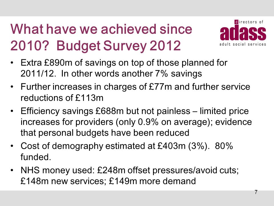 What have we achieved since 2010? Budget Survey 2012 Extra £890m of savings on top of those planned for 2011/12. In other words another 7% savings Fur