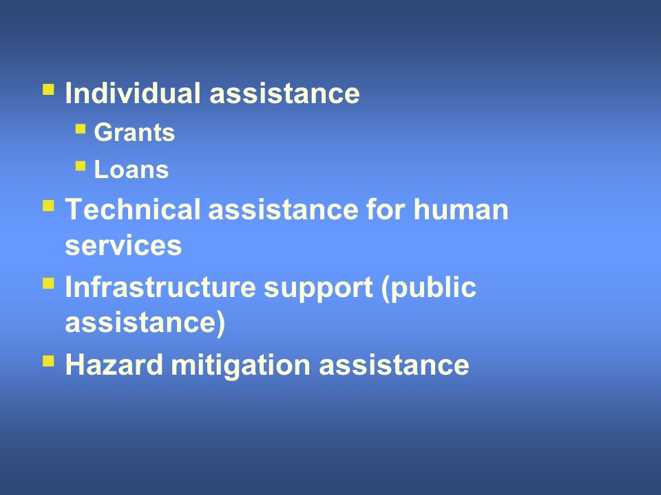 II ndividual assistance GG rants LL oans TT echnical assistance for human services II nfrastructure support (public assistance) HH azard mitigation assistance