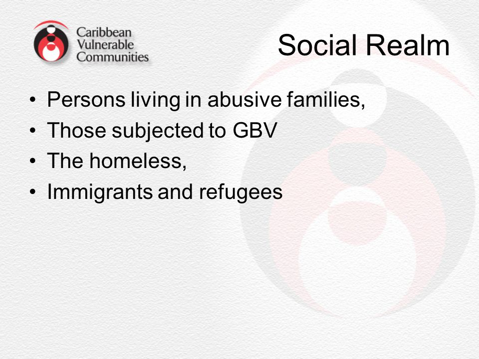 Social Realm Persons living in abusive families, Those subjected to GBV The homeless, Immigrants and refugees