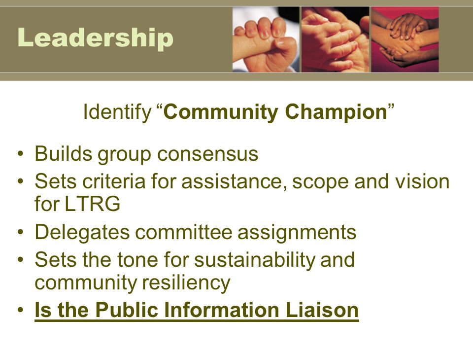 Leadership Identify Community Champion Builds group consensus Sets criteria for assistance, scope and vision for LTRG Delegates committee assignments Sets the tone for sustainability and community resiliency Is the Public Information Liaison