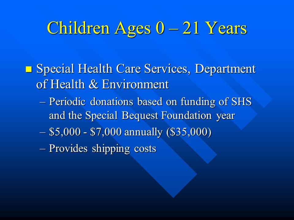 Children Ages 3 – 21 Years n Kansas State Department of Education –One time end of the year support ($125,000) –Periodic financial support for demonstrations