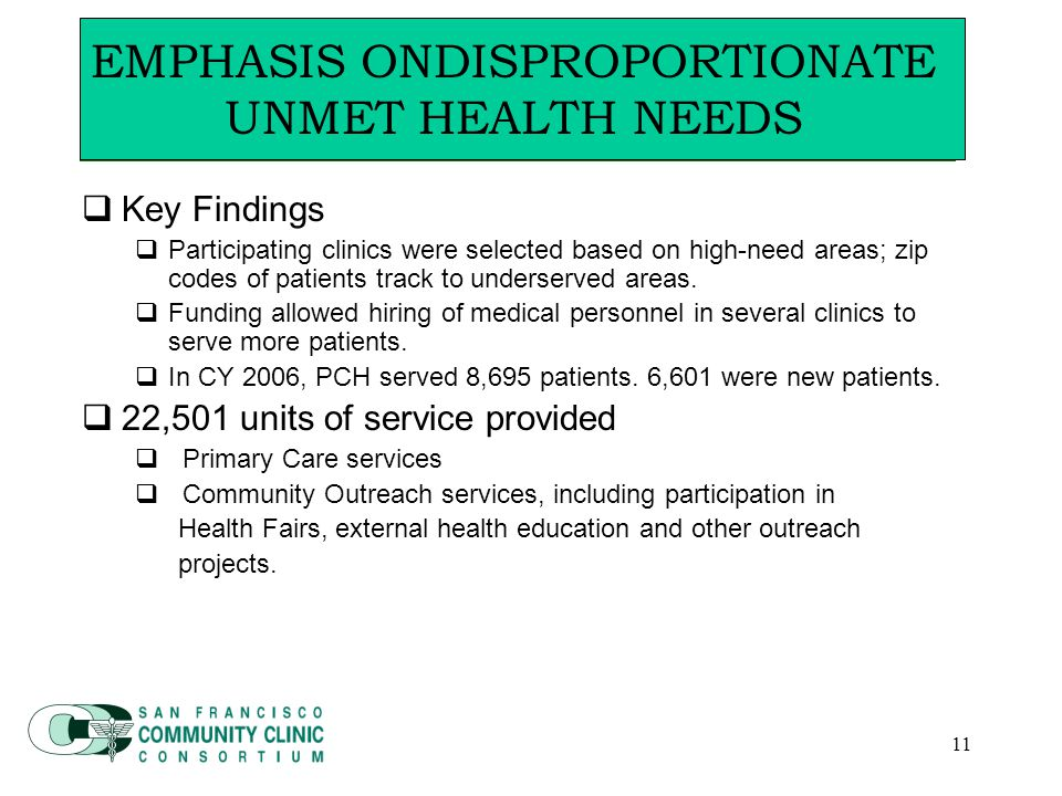 11  Key Findings  Participating clinics were selected based on high-need areas; zip codes of patients track to underserved areas.