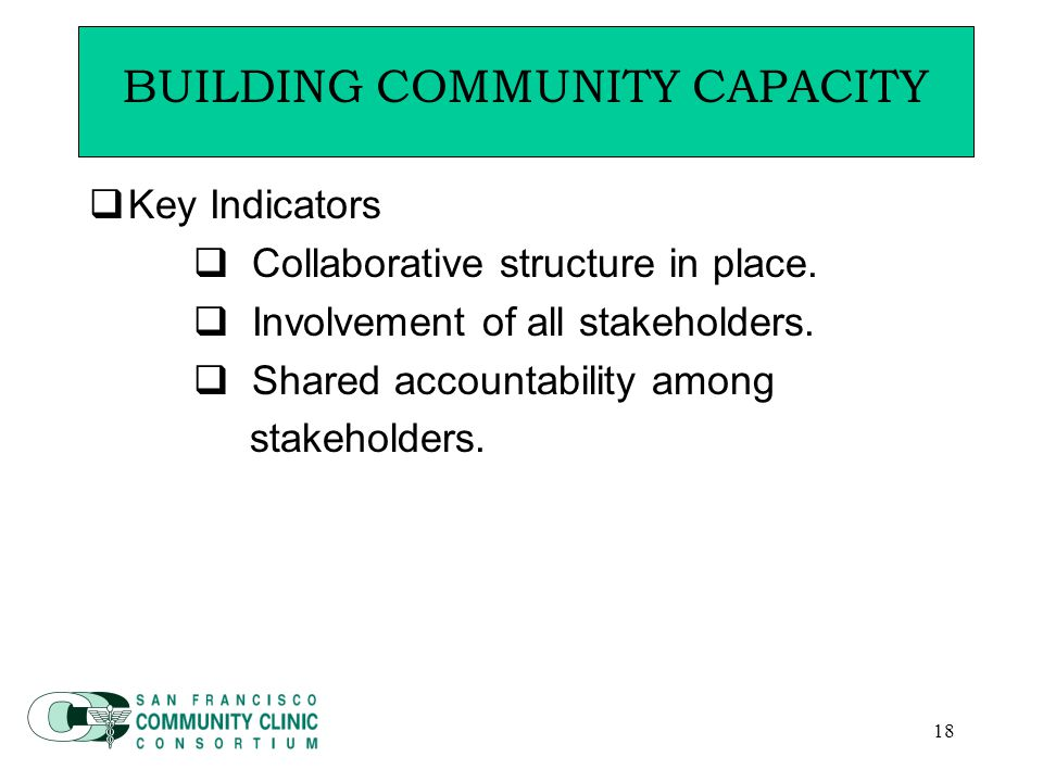 18  Key Indicators  Collaborative structure in place.