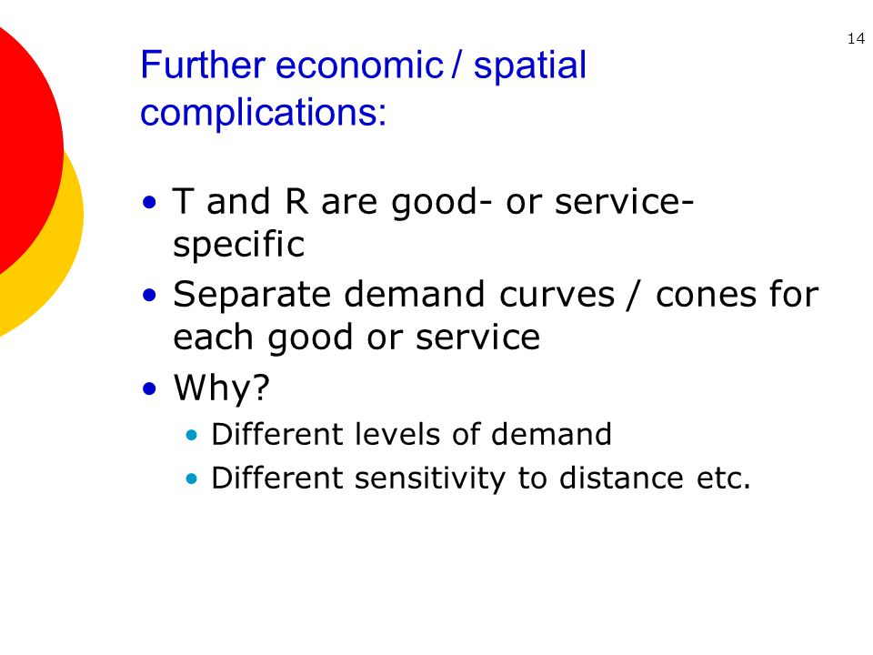 14 Further economic / spatial complications: T and R are good- or service- specific Separate demand curves / cones for each good or service Why.