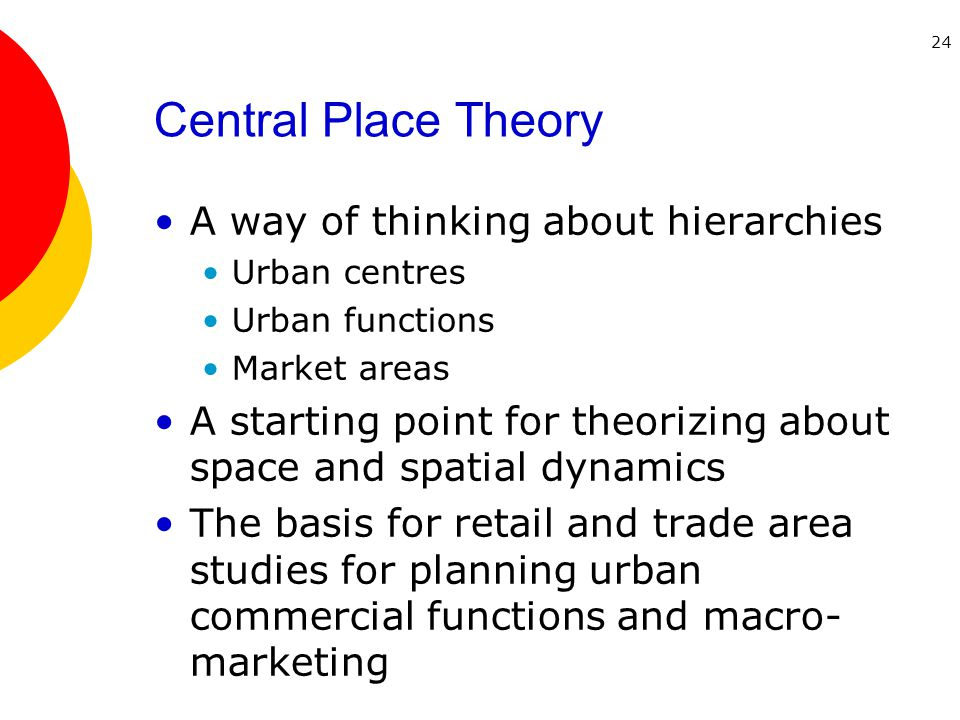 24 Central Place Theory A way of thinking about hierarchies Urban centres Urban functions Market areas A starting point for theorizing about space and spatial dynamics The basis for retail and trade area studies for planning urban commercial functions and macro- marketing