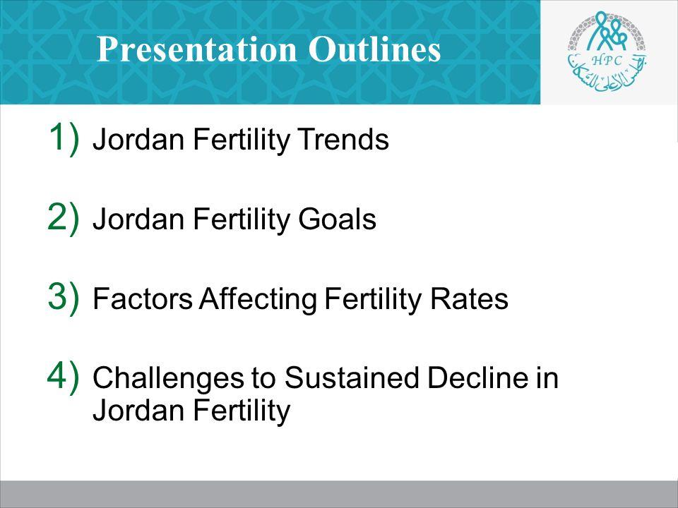 Presentation Outlines  Jordan Fertility Trends  Jordan Fertility Goals  Factors Affecting Fertility Rates  Challenges to Sustained Decline in Jordan Fertility