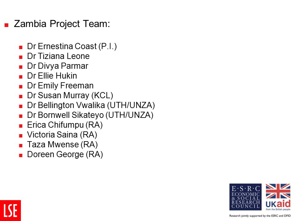 Zambia Project Team:  Dr Ernestina Coast (P.I.)  Dr Tiziana Leone  Dr Divya Parmar  Dr Ellie Hukin  Dr Emily Freeman  Dr Susan Murray (KCL) 