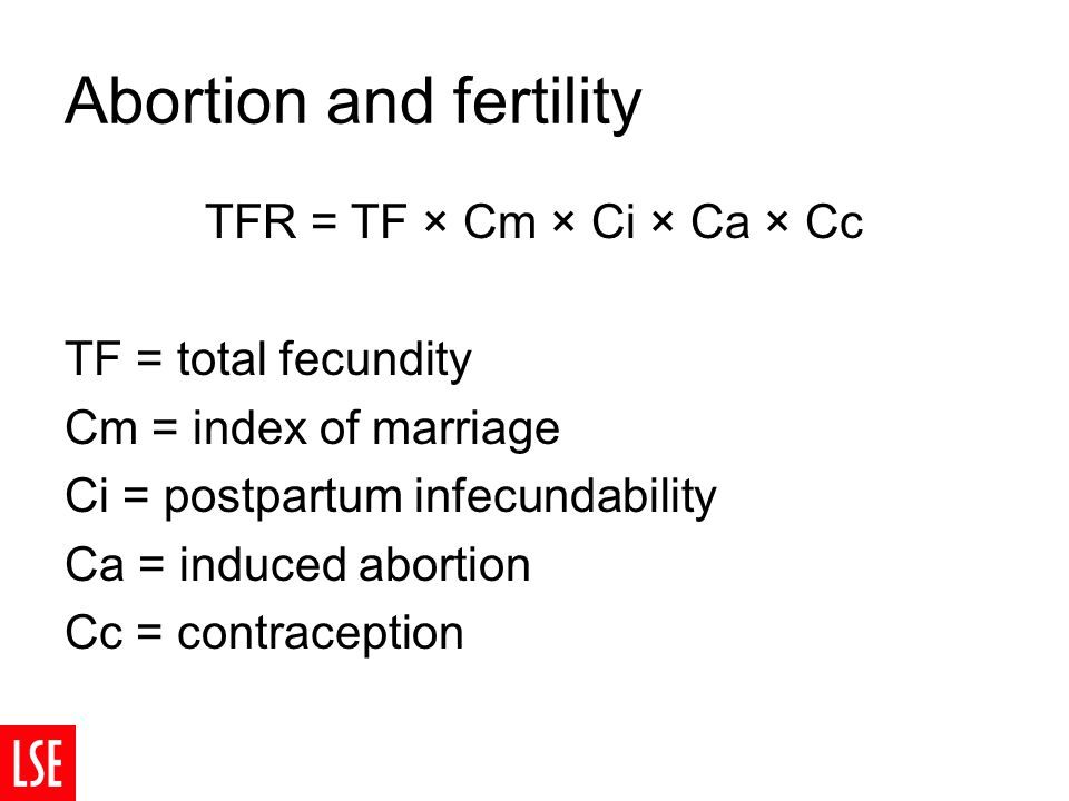 Abortion and fertility TFR = TF × Cm × Ci × Ca × Cc TF = total fecundity Cm = index of marriage Ci = postpartum infecundability Ca = induced abortion Cc = contraception