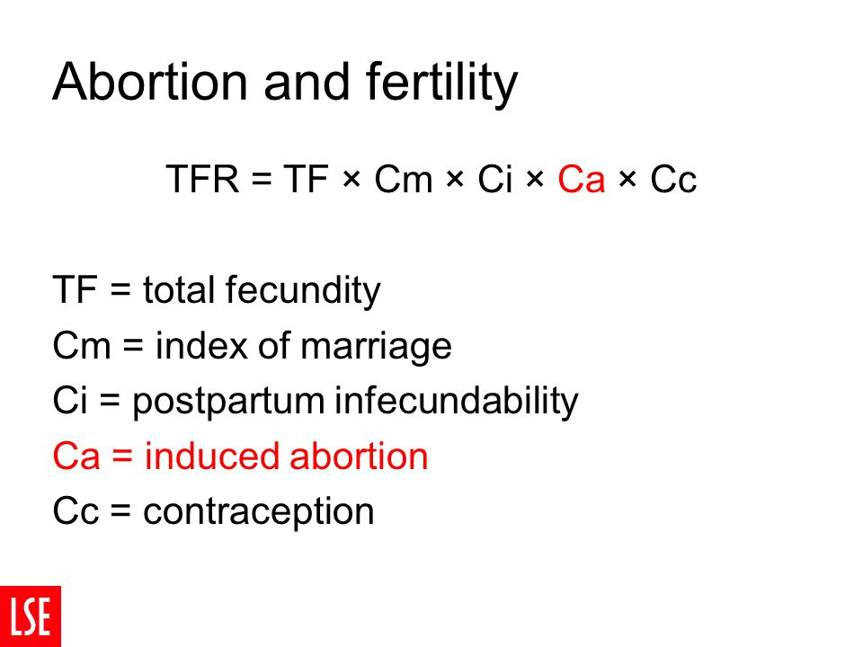 Abortion and fertility TFR = TF × Cm × Ci × Ca × Cc TF = total fecundity Cm = index of marriage Ci = postpartum infecundability Ca = induced abortion