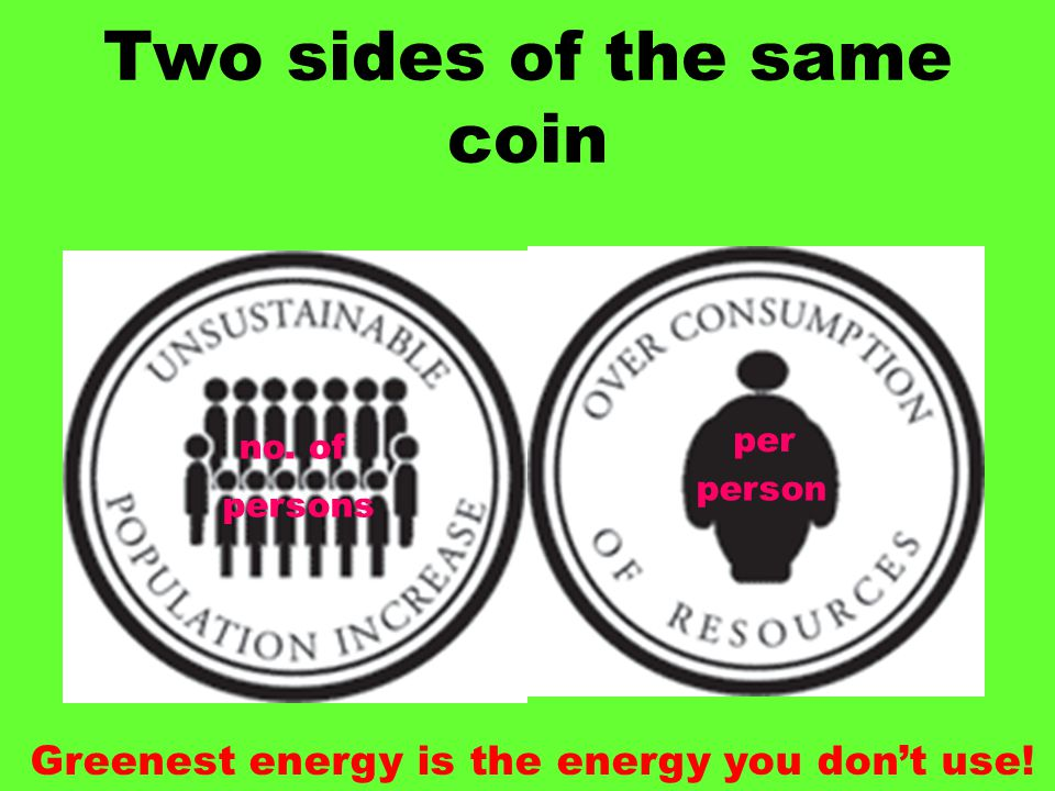 Two sides of the same coin per person no. of persons Greenest energy is the energy you don't use!
