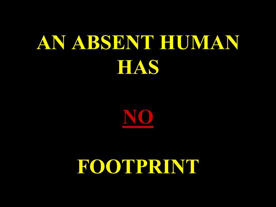 AN ABSENT HUMAN HAS NO FOOTPRINT