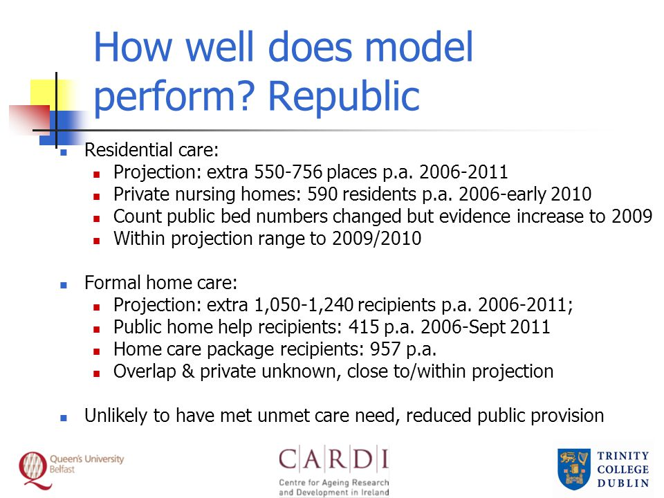 How well does model perform. Republic Residential care: Projection: extra 550-756 places p.a.