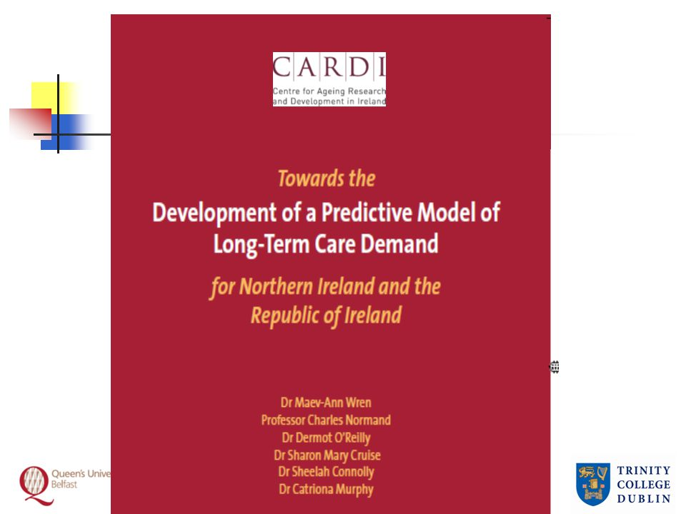 Utilisation patterns, Republic Alternative estimates Of people aged 65+ in 2006 base year: 4.4% to 4.8% in residential LTC 8.9% to 10.5% receive formal home help 8.8% have ADL difficulty and receive intense all-day or daily informal care; 28% receive some informal care Gender differences and unmet need
