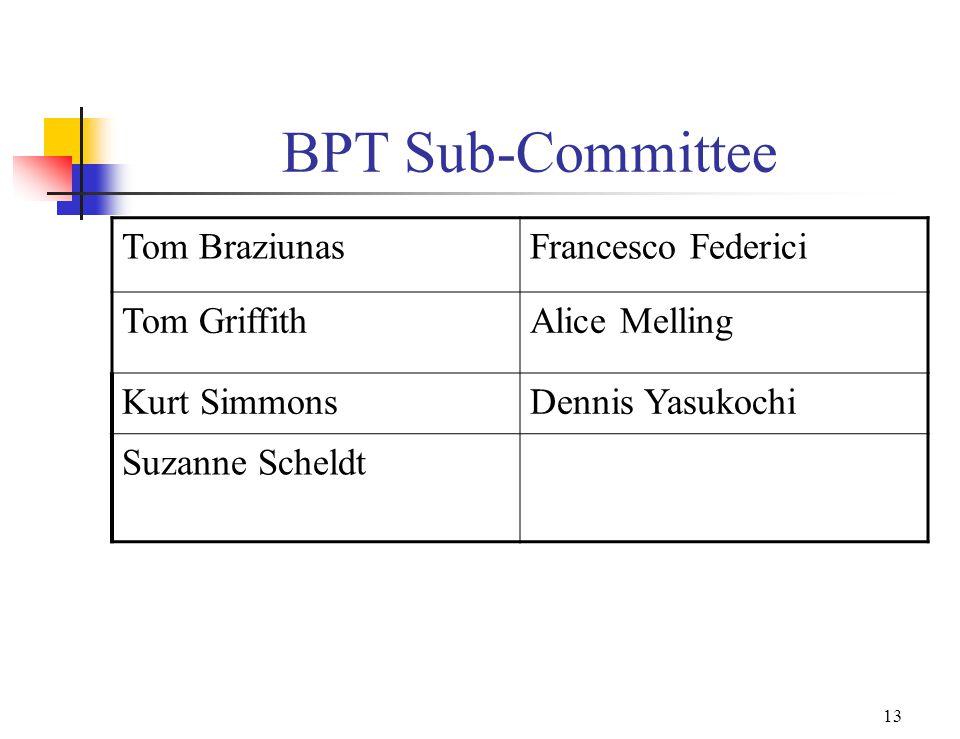 12 BPT Members cont. Kurt SimmonsDennis Yasukochi Vladimir Vilkevich Ron Woods