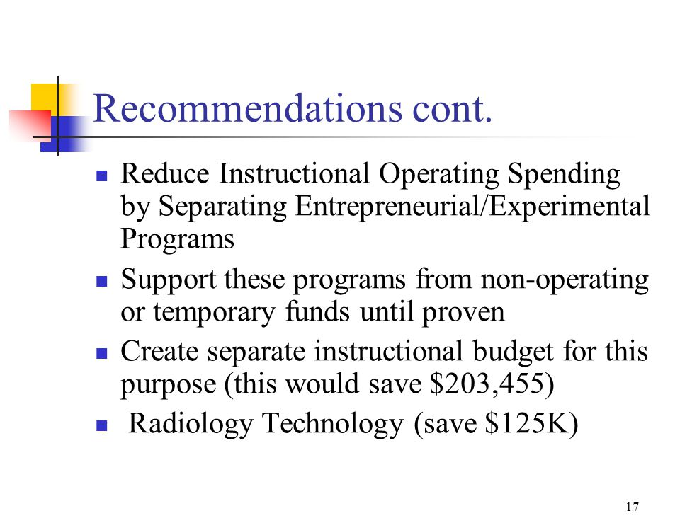 16 Sub-committee cont. Specific recommendation: The college should balance the currently projected 2007-08 operating budget deficit through a combinat