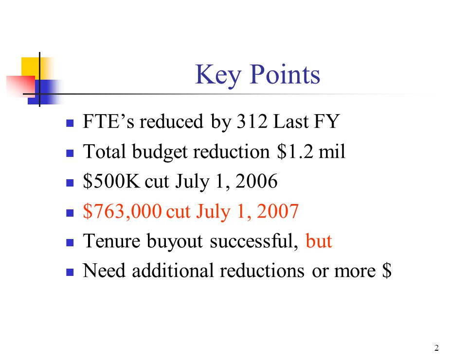 2 Key Points FTE's reduced by 312 Last FY Total budget reduction $1.2 mil $500K cut July 1, 2006 $763,000 cut July 1, 2007 Tenure buyout successful, but Need additional reductions or more $